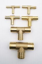 "SOLID BRASS barbed Hose ""T"" splitter/joiner/connector. Available in 6 sizes"